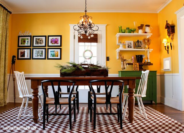 Dining room in bright yellow via inspired by charm