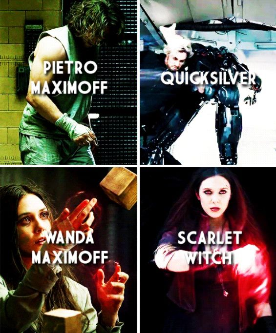 Scarlet Witch and QuickSilver. Wanda and Pietro Maximoff. The Avengers 2, The Age of Ultron.