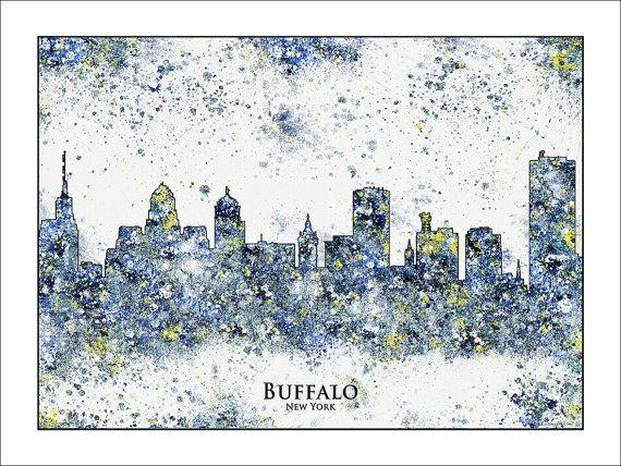 BUFFALO Skyline Buffalo NY Buffalo New York New by WaterColorMaps