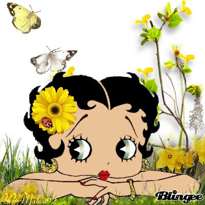 betty boop with ladybug & butterflys