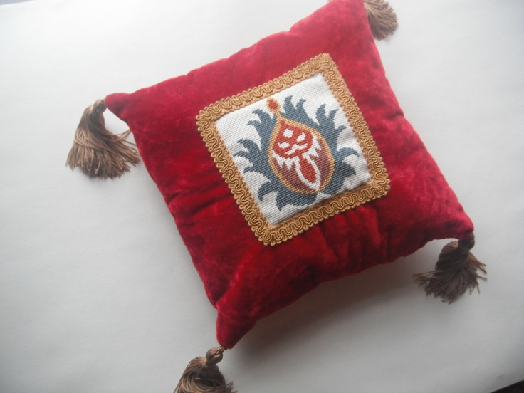 William Morris Pomegranate Cross-Stitched Red Velvet Accent Pillow. $65.00, via Etsy.