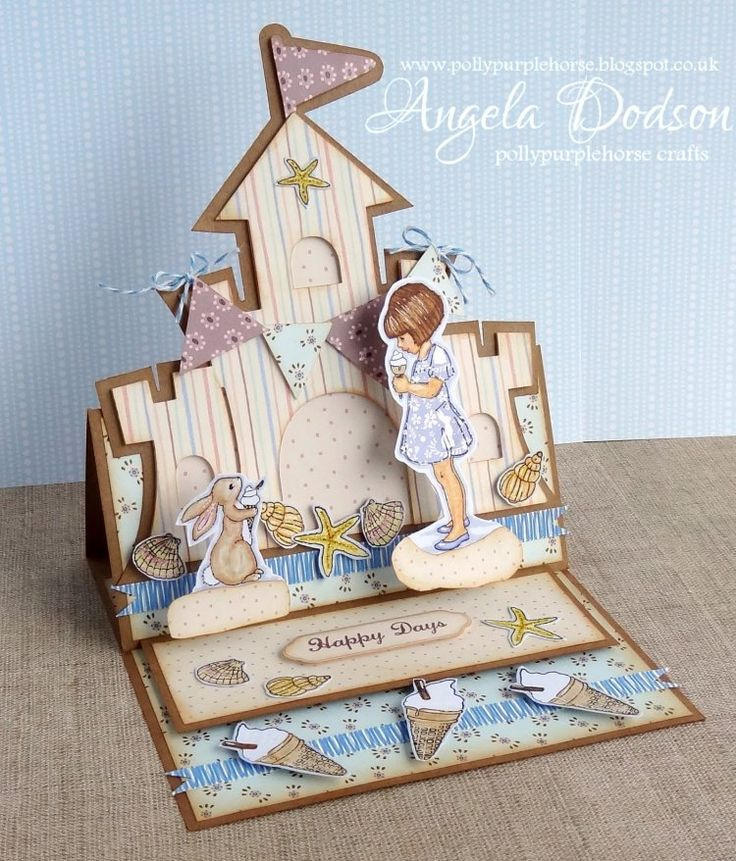 Gorgeous sandcastle easel card design by Angela