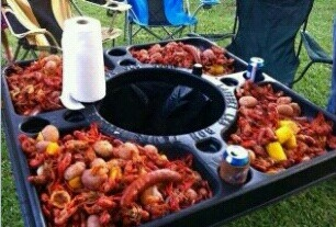 crawfish boil~this tray is awesome~ my husband looked this up~ crawfishtables.net~ 90$~
