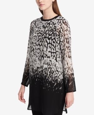 Calvin Klein Printed Sheer Tunic - Black XL