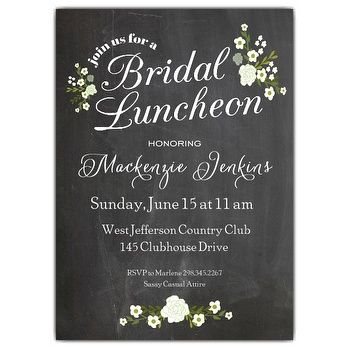 Chalkboard Floral Bridal Luncheon Invitations | Paper Style