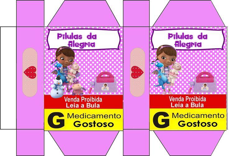"kit de aniversário ""doutora brinquedos"", cone para guloseimas, convite, rótulos, etc... - Convites Digitais Simples"