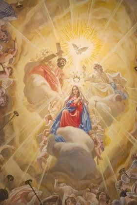 Pictures of a Mural of the Crowning of the Virgin from Malaga, Spain