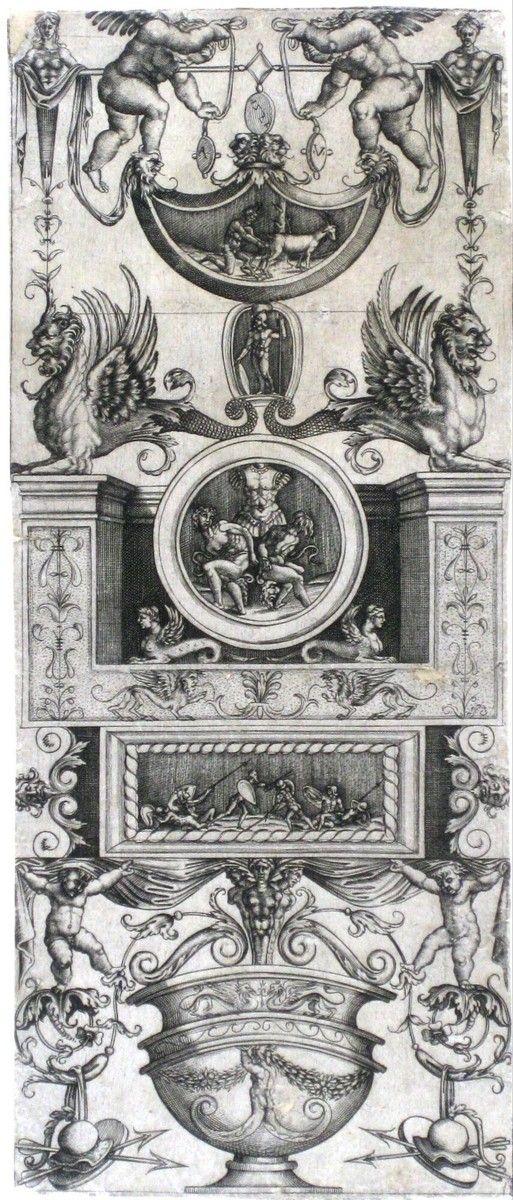 Ornamentprent met antieke motieven, Agostino Veneziano, 1521 | Museum Boijmans Van Beuningen