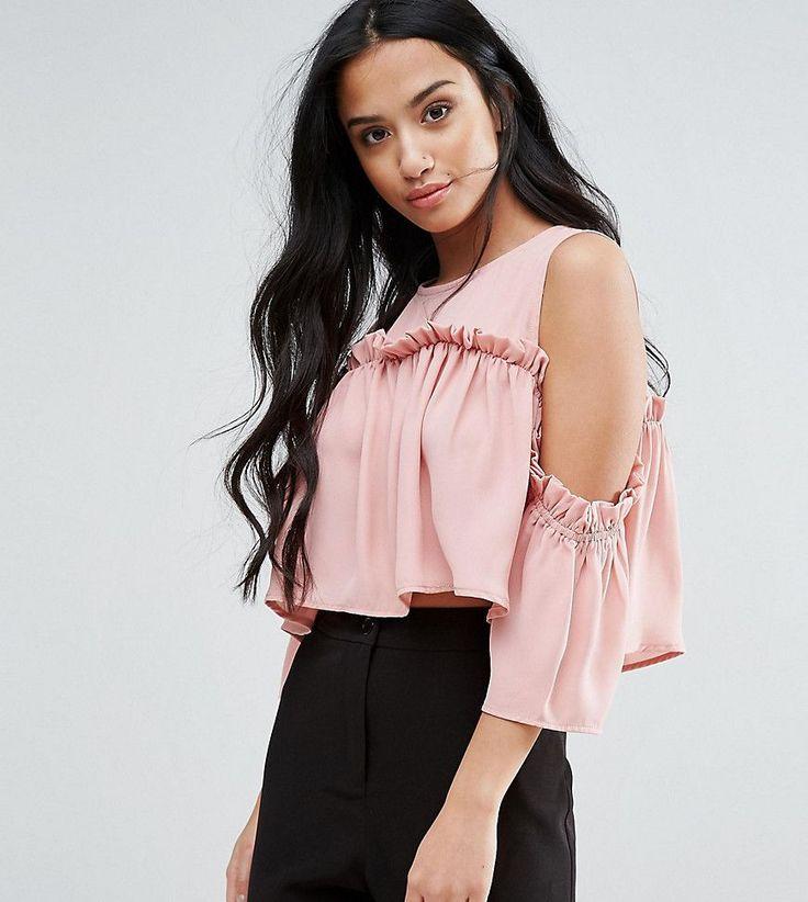 Fashion Union Petite Cold Shoulder Smock Top - Pink