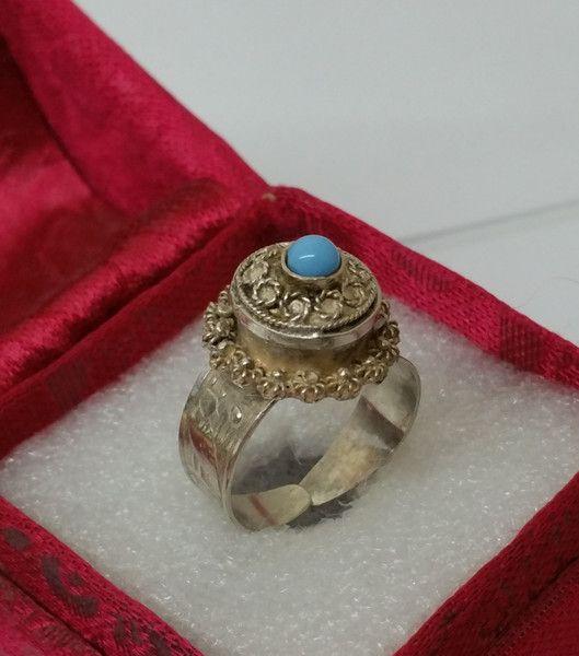 Vintage Ringe - Antiker Giftring Silber 800 filigran Achat SR727 - ein Designerstück von Atelier-Regina bei DaWanda