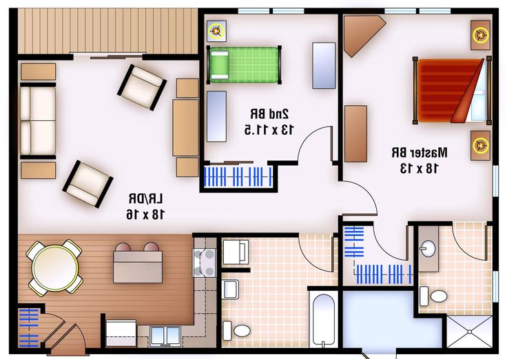 Bedroom layouts ideas 2 bedroom apartment floor plan for Small two bedroom apartment floor plans