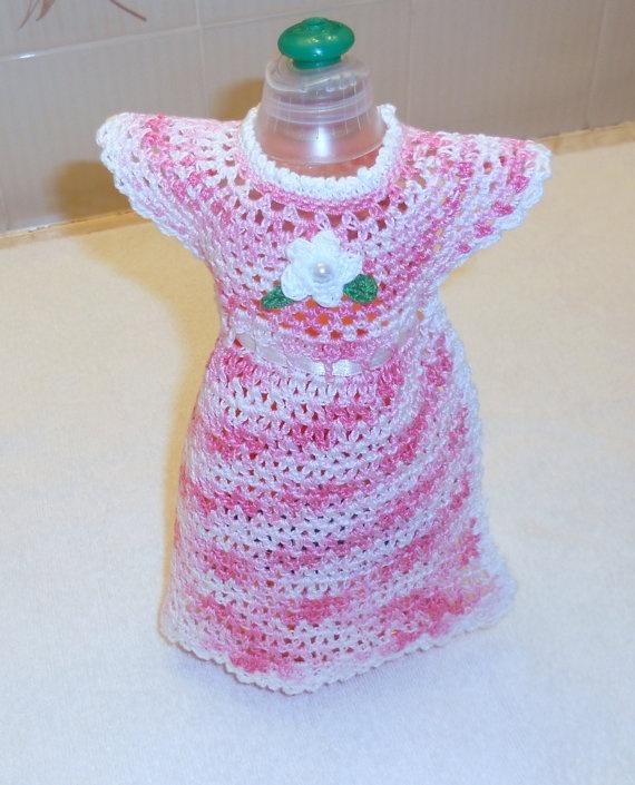 Pink and White Dish Soap Bottle Dress Crochet Kitchen ...