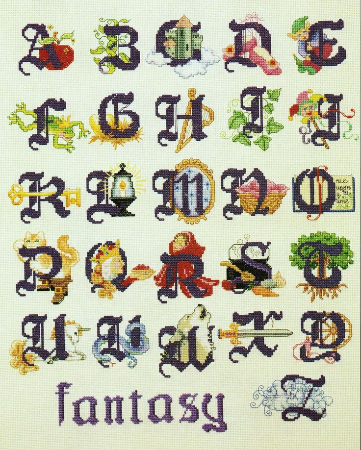 The 'Fairy Tales' alphabet from 'The Ultimate Children's Alphabet Book' by Linda Gillum and Holly DeFount (pub. American School of Needlework, 1996). This is one of the larger and more complex alphabets in this book - and is also my favourite alphabet set therein. There are 23 different alphabets to choose from, varying in size and complexity.