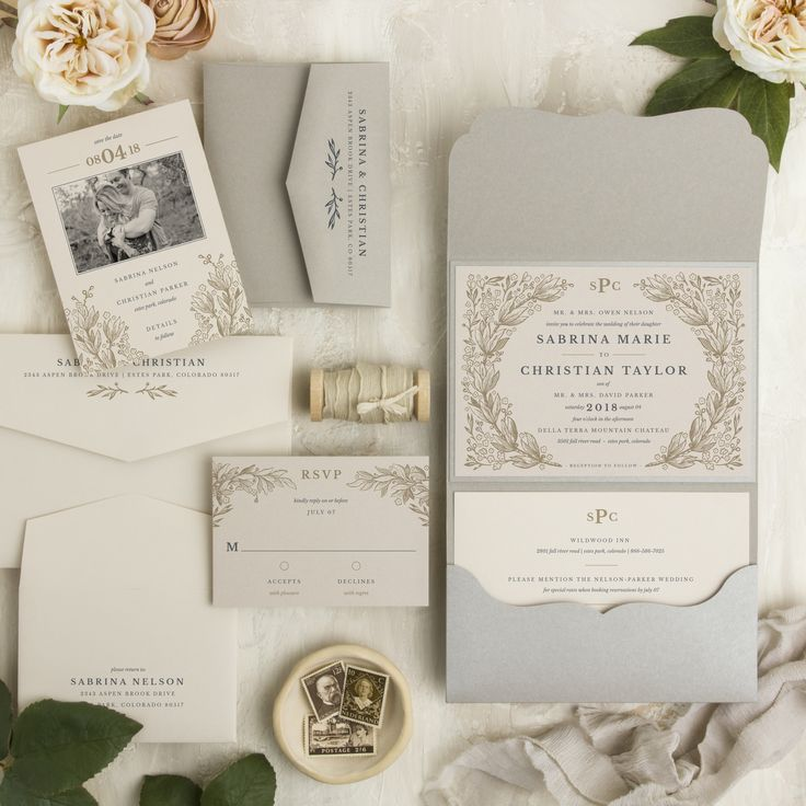 luxury wedding invitations dallas%0A Secret Garden Pocketfold Wedding Invitation Suite  vintage woodcut wreath  of leaves  flowers and buds make for a beautiful frame  with your crown of