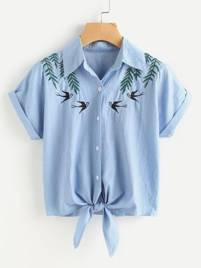 Tie Front Swallows Embroidered Denim Shirt