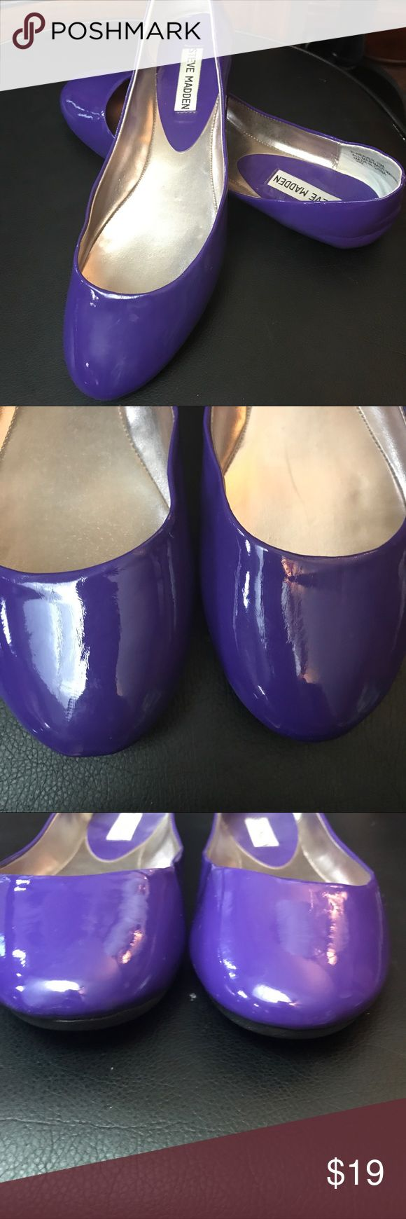 "Steve Madden slip on flats patent Leather purple Size 10M Steve Madden     ⭐️Faux Patent Leather ⭐️10.5"" length  ⭐️condition: EUC/NWOT  ⭐️flaws?: None ❤️ BUNDLE UP TO 5 POUNDS in the flat shipping price of $7.20!!  ❤️Smoke free dog friendly home. ❤️️Ask me about other items in this size! ❤️️ALWAYS OPEN TO CLOSE/FAIR OFFERS Thank you for shopping with ""❤️️WEARSHARECONSIGNMENT❤️️""  @WearShareConsignment for IG/FB Steve Madden Shoes Flats & Loafers"