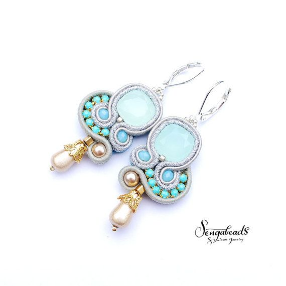 Light opal blue small soutache earrings with silver by Sengabeads