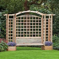 A really nice arbour for your garden.  Sit on the bench and enjoy the aroma from your plants in the planters either side, perhaps they are climbers and you are encompassed in them.  This Trellis Arbour With Planters measures 287 x 54 x 270cm and is made from FSC pressure treated timber for years of enjoyment