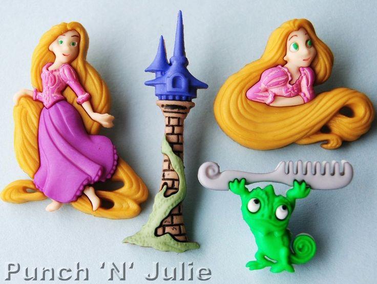 RAPUNZEL - Disney Chameleon Pascal Tangled Hair Tower Dress It Up Craft Buttons