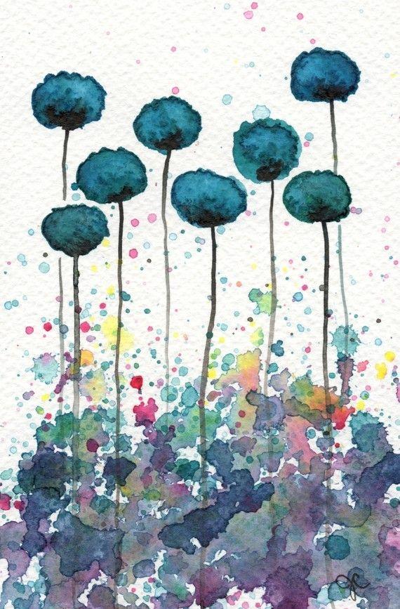 Teal Flowers 8 00 Etsy Artpainting Einfache Aquarellbilder Aquarell Mohnblumen Wasserfarbenblumen
