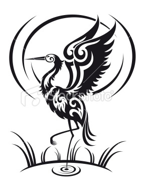 Heron in tribal style Royalty Free Stock Vector Art Illustration