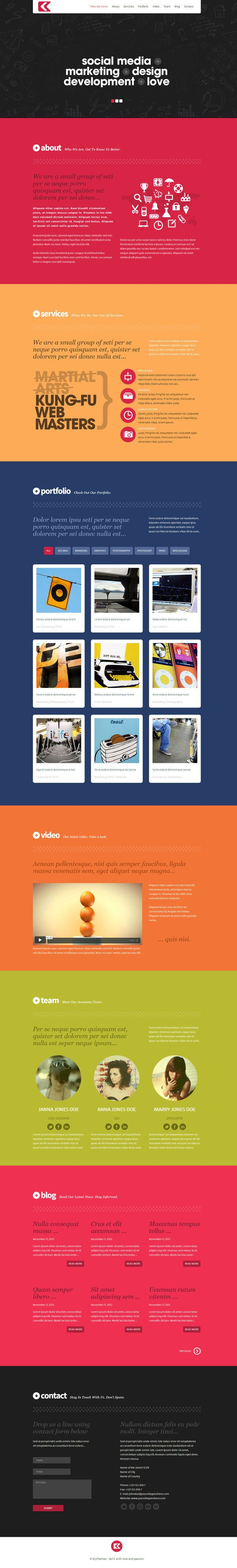 Kronos - One Page Responsive Wordpress Theme by Wordpress Themes , via Behance
