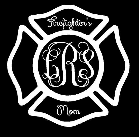 Firefighter's Mom Monogram Initials Decal, Maltese Cross, Fireman Decal