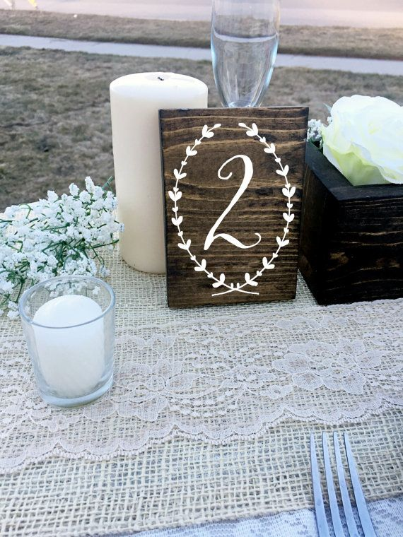 Wedding Double Sided Table Numbers, Wreath, Script, Cursive Wooden Table Numbers, Rustic, Wood Table Numbers, Calligraphy Table Numbers