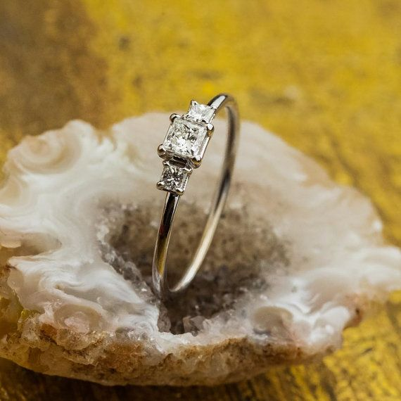 Princess Cut Diamond Engagement Ring 18K White by ZEHAVAJEWELRY