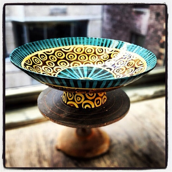 Low Large Pedestal Bowl colorful version with pattern by Mayware, $180.00