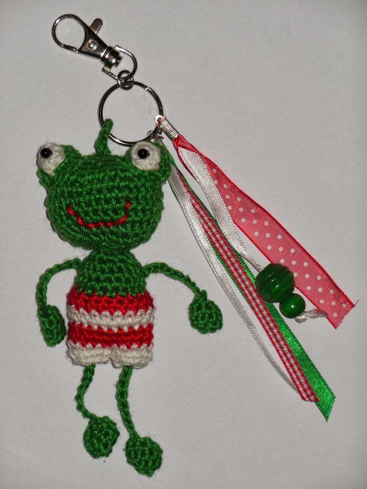 deborah haakt kikker sleutelhanger crochet frog keychain amigurumi