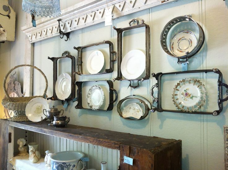 Vintage silver casserole dish holders repurposed into plate rack frames; upcycle, recycle, salvage, repurpose, diy! For ideas and goods shop at Estate ReSale & ReDesign, Bonita Springs, FL