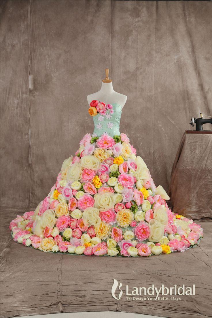 カラードレス グリーン プリンセスライン お花いっぱいの豪華なドレス カラフル スパンコール vj0168-m