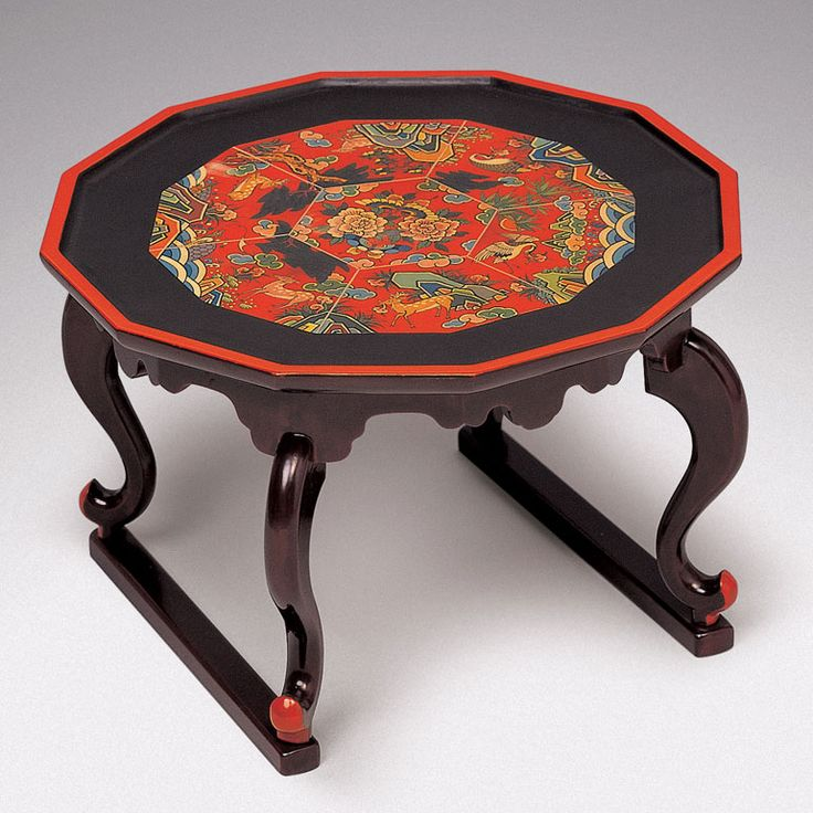 Korean traditional tea table with dog legs. Wood and Lacquer. Choson Dynasty. ca. 17th Century.#DecorativeKoreanArt