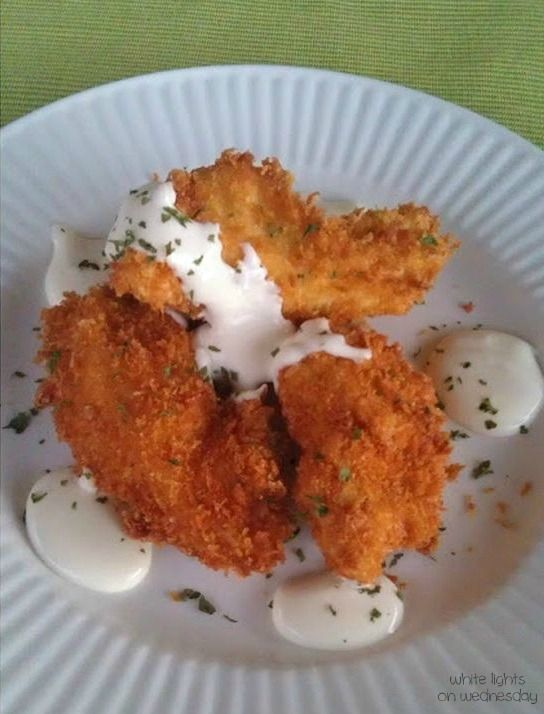 Parmesan Crusted Chicken with Garlic Cheese Sauce