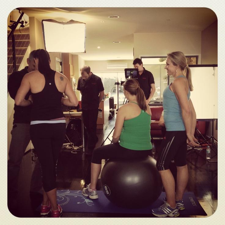 pregnancy exercise video shoot