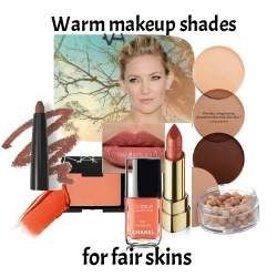 If you have a Warm skin tone but are fair, then choose makeup with light gentle tones of peach and coral, copper and gold. #warm makeup #color analysis