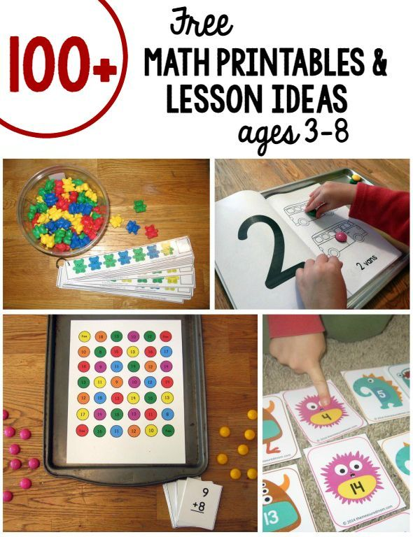 Over a hundred free math games and activities for kids in preschool on up. Love the variety!: