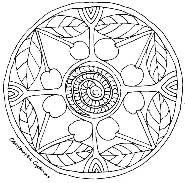 free coloring page by Centaurea Cyanus - summer mandala for kids