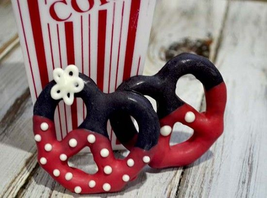 Cute Minnie and Mickey chic covered pretzels
