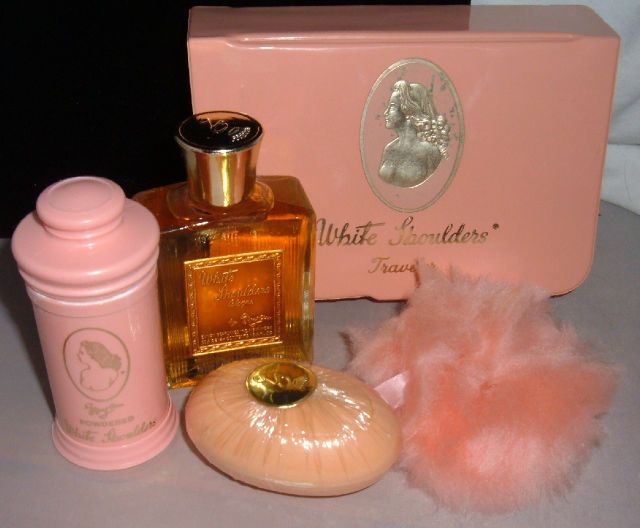 VINTAGE 'White Shoulders' Perfume Fragrance Travelers Lot Powder Puff Soap & Case | eBay