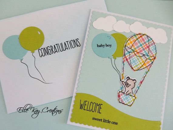 Handmade Welcome Baby Card. This card can be made to order. Blue, Pink or Yellow card colour scheme. Card will come with matching envelope. Balloon will say either Baby Girl or Baby Boy. If gender is unknown then the balloon will be left blank.  There is the additional option of a different animal in the air balloon! Choose from cat, dog, raccoon, bear and bunny. Please add a message to your order if there are specific colours and styles you would like on the card.