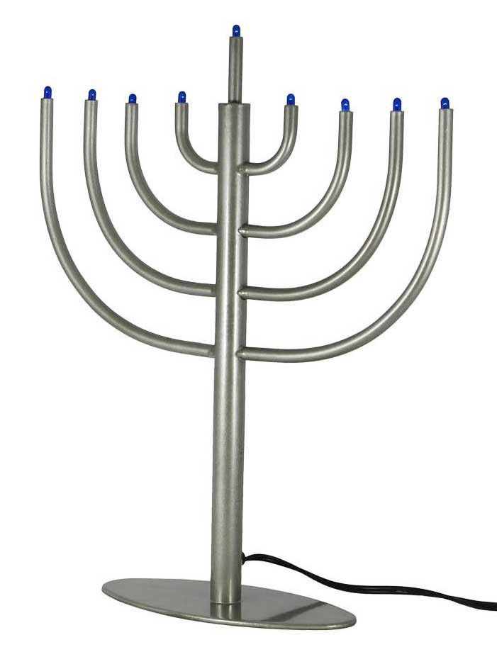 Classic Modern LED Electric Menorah - Silver