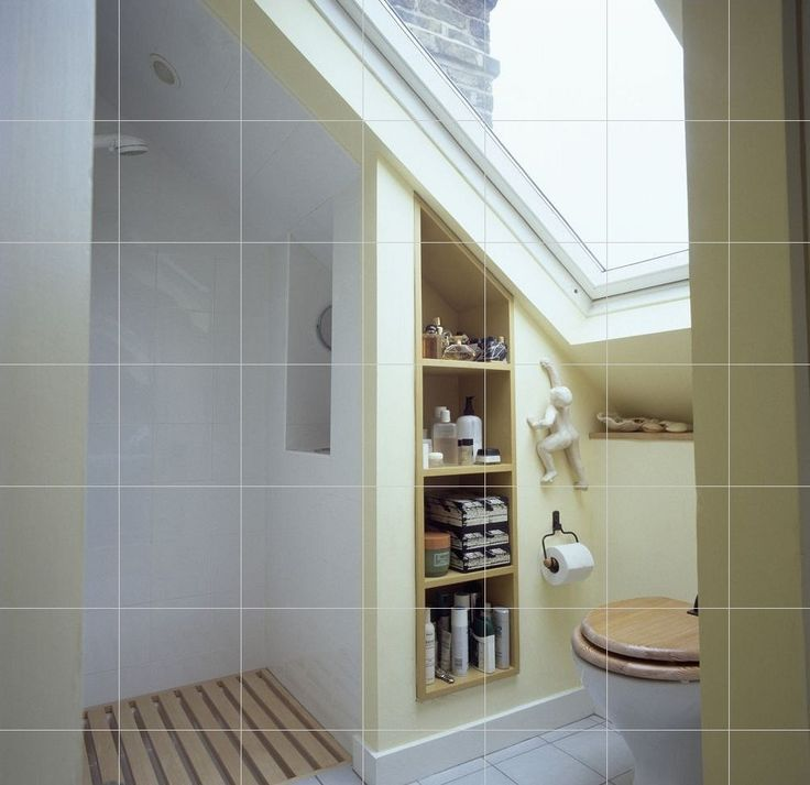 Another nice idea for a shower under the eaves. This time there is an inbuilt shelving unit beside the loo, making the most of otherwise wasted space.