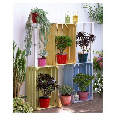 paletsIdeas For, Home, Crates Projects, Gardens, Backyards Ideas, Backyards Plants, Wooden Crates, Wood Crates, Garden