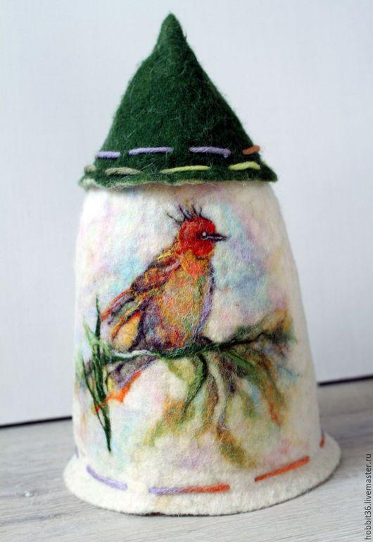 """Кухня ручной работы. Ярмарка Мастеров - ручная работа. Купить Грелка чайная """"Домик с лесной птичкой. Handmade. Комбинированный"""