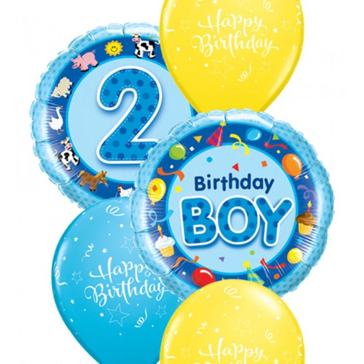 Happy Birthday Wishes Boy ~ Two foil balloons in shades of blue send your message birthday boy and are complimented