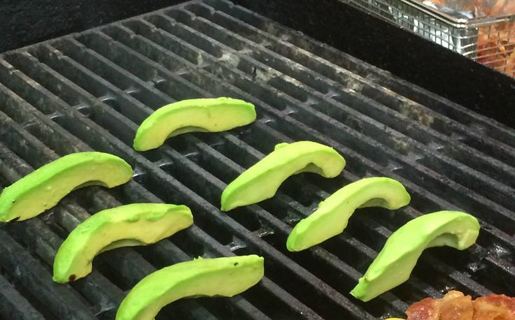 Avocados on the grill for our Curry and Grilled Avocado Bowl.