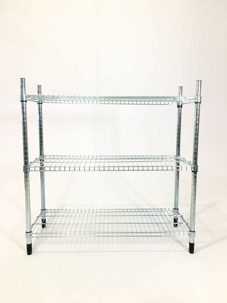 """PYF-0488--SS Chrome Net 3 Open Shelf Rack Big (h36""""Xw36""""Xd14"""")--4pics"""