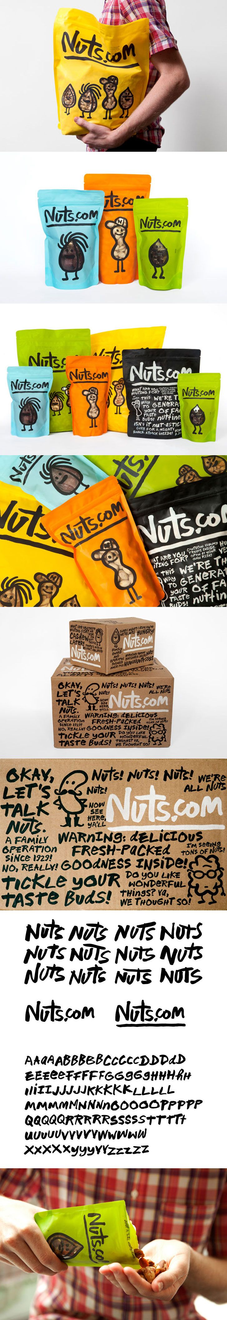Expanded Nuts.com packaging by Pentagram. Michael Bierut, partner-in-charge and designer; Katie Barcelona and Aron Fay, designers. Illustrations by Christoph Niemann. Font design by Jeremy Mickel based on a hand-drawn alphabet by Michael Bierut. PD